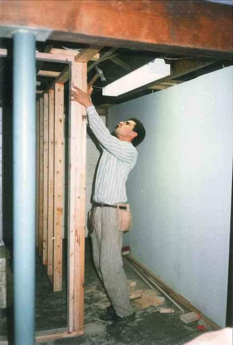 Framing a basement Commack NY 1989