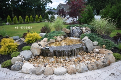 Waterfall built pond less in Medford, New York