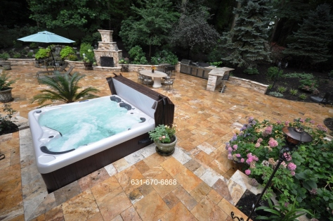 Catalina Hot Tub Spas with Travertine Pavers Sorroundings