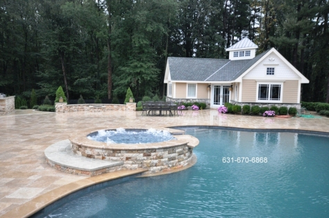 Gunite Pool Spas Natursl Stone Custom Coping