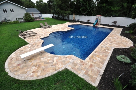 Travertine paving stones Installed in Amagansett, New York 11930