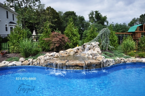 Swimming pool waterfall Contractor long island
