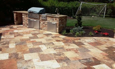 Travertine Patio Professionally cleaned & sealed