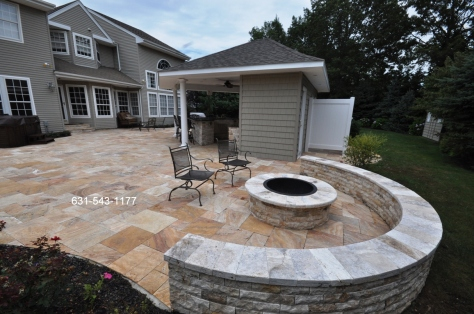 Travertine Firepit Sitting Wall Masonry