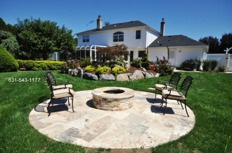 FIORITO TRAVERTINE PAVERS AND VENEERS FOR FIREPIT PATIO