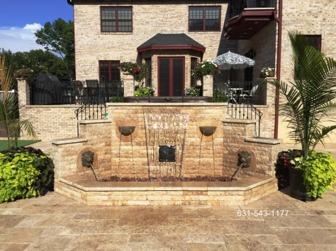 Custom Natural Stone Three-tier Pondless Water Feature by Gappsi