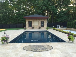 Custom Vinyl Pool, Natural Stone Patio, Natural Stone Veneered Pool House on Long Island by Gappsi