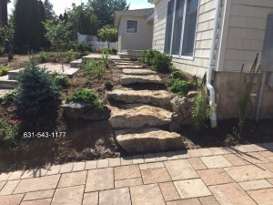 Natural Boulder Step Installation & Landscape by Gappsi