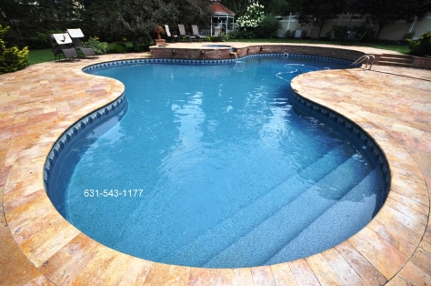 Custom Free form Vinyl Lined pool by Gappsi.