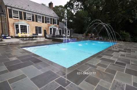 Gunite swimming pool company,East Norwich, NY, 11732, residential, Long Island, design, installation, Gappsi Group,rectangular, Gunite pool, natural blue stone patio, deck jets, patio, n