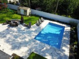 vinyl swimming pool, backyard furniture and natural stone patio (1)