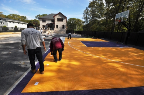 Basketball court tiles installation by gappsi Smithtown ny